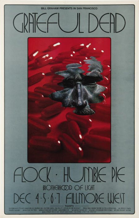 concert poster, Fillmore West, 12/4 - 12/7, 1969 by David Singer