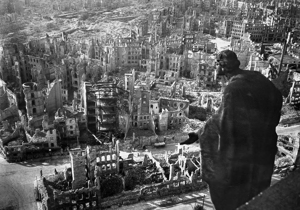 A view taken from Dresden's town hall of the destroyed Old Town after the allied bombings. Peter Pöppelmann's sculpture Allegory of Goodness seems to look out over the ruined city. (Walter Hahn/AFP/Getty Images)