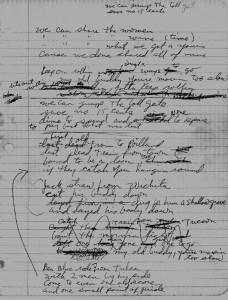 """""""Jack Straw"""" - handwritten manuscript, Robert Hunter"""