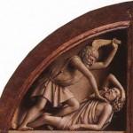 "detail fromGhent Altarpiece""Cain Murders Abel"" Jan Van Eyck - 1432"