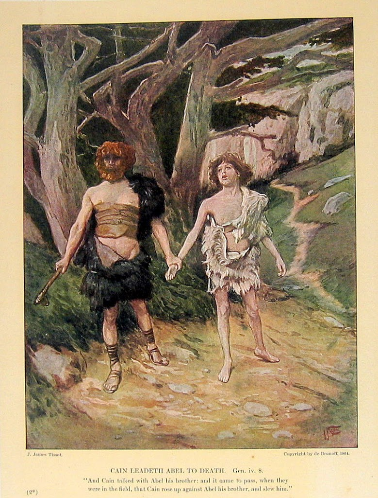 Cain Leadeth Abel to Death - Chromolithograph book plate, James Tissot, 1904