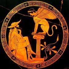 Oedipus and the Sphinx - Classical Period Attic Red Figure Vase