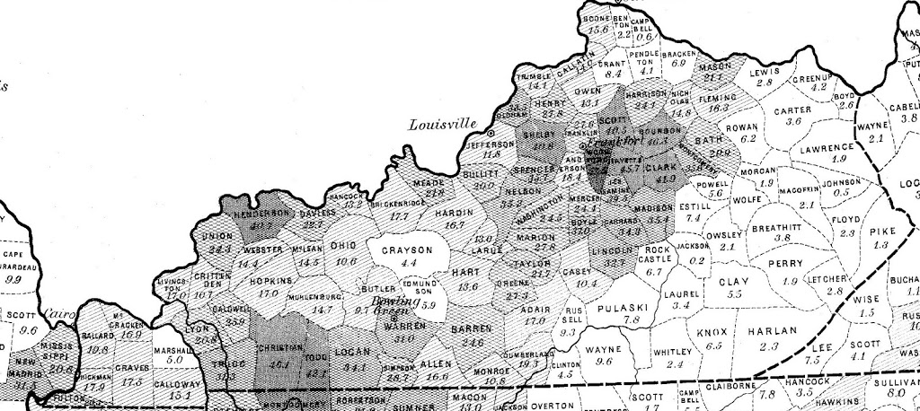 Excerpt From Map Showing The Distribution Of Slave Population Of The Southern States Of The United States Based On The 1860 Census Of Slaves As Total