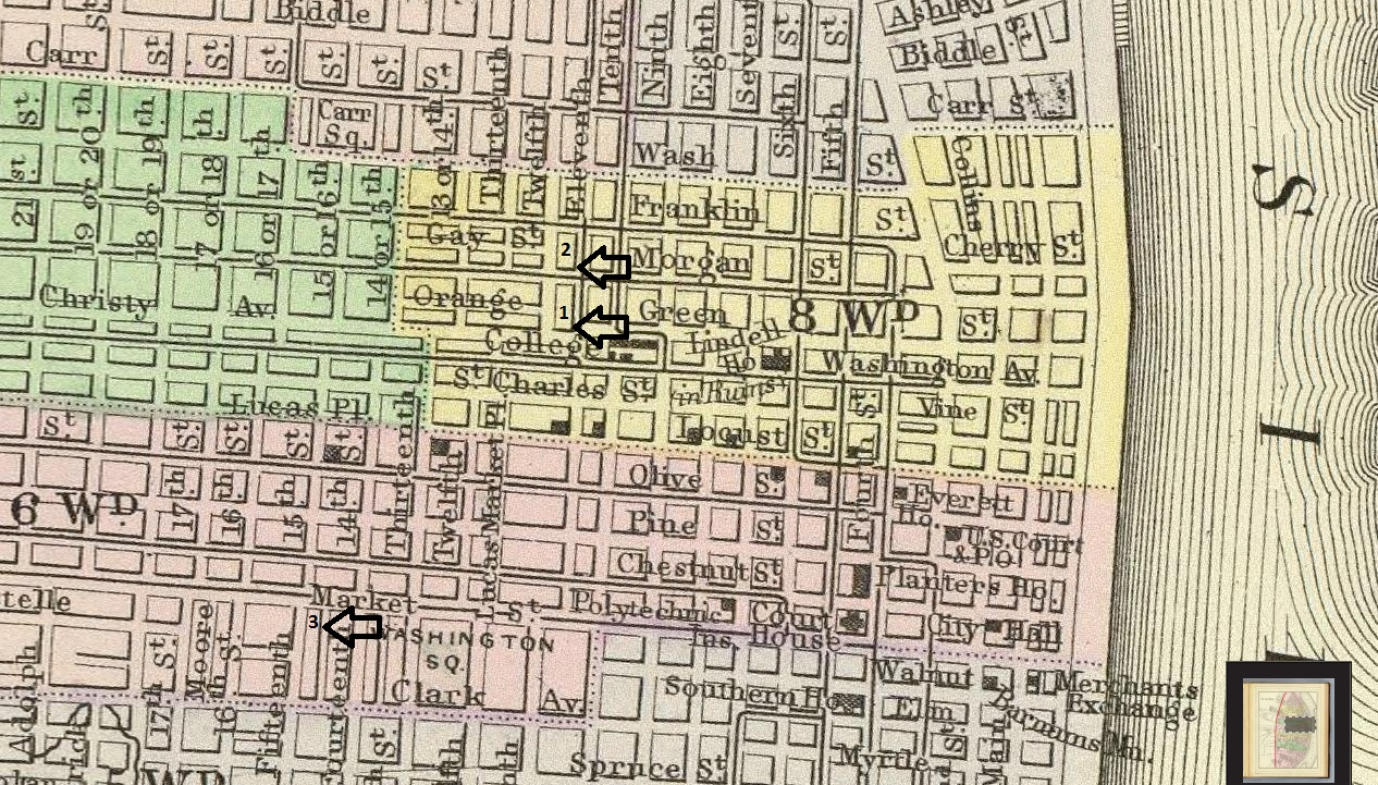 According to David, 1 = 11th and Christy, Starkes's Saloon where Harry Duncan allegedly killed patrolman James Brady. 2 = 11th and Morgan, Curtis's saloon where 'Stack' Lee Shelton murdered Billy Lyons, and 3 = Targee and Market (Targee is the alley between the buildings bounded by 14th and 15th Streets) the site of Allen Britt's murder at the hands of Frankie Baker.