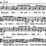 "Notation of ""Duncan and Brady"" from Lomax and Lomax, Our Singing Country."