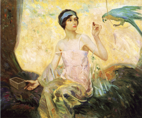 Tempting Sweets - 1924, Oil on Canvas Robert Lewis Reid