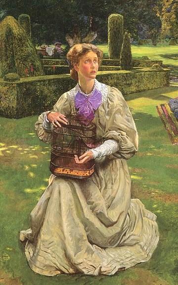The Caged Bird - 1907, oil on panel - John Byam Liston Shaw