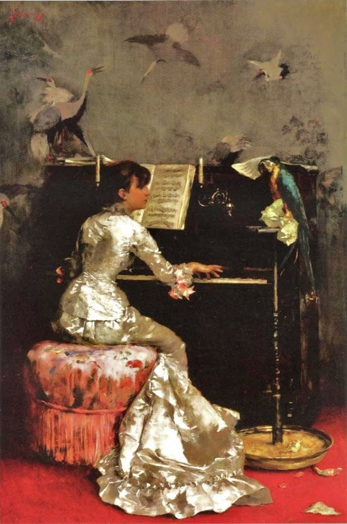 Young Woman at Piano - 1878, oil on panel Julius LeBlanc Stewart