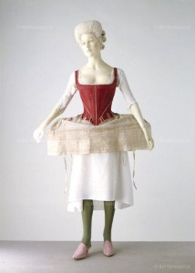 Shift: English, mid 18th century, linen. Corset & side hoop: English, 1770-80 & 1778, silk damask, linen. Victoria and Albert Museum VandA Images, London / Art Resource, NY