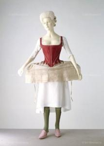 Shift: English, mid 18th century, linen. Corset & side hoop: English, 1770-80 & 1778, silk damask, linen. Victoria and Albert Museum VandA Images, London / Art Resource, NY