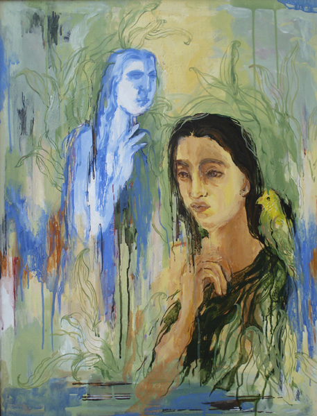 Golden Cage 4 - acrylics on canvas. 2008 by Fareha Zeba
