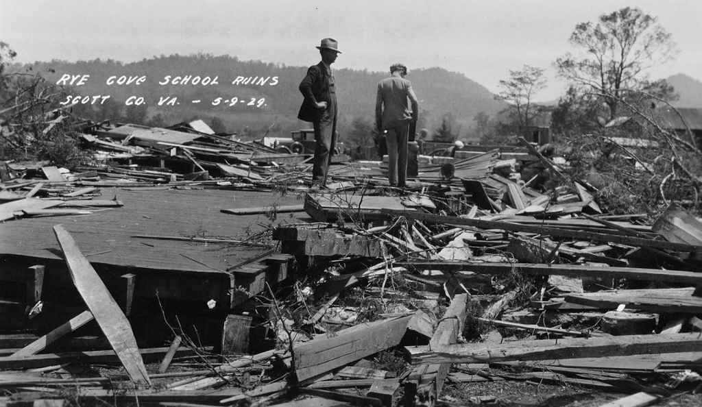 """""""Rye Cove School Ruins, Scott County, Virginia, 5/9/29"""" - Photographer unknown - Library of Virginia"""