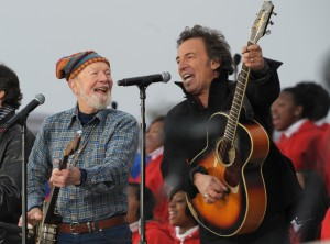 Bruce Springsteen and the late Pete Seeger performing at Barack Obama's inauguration in 2009