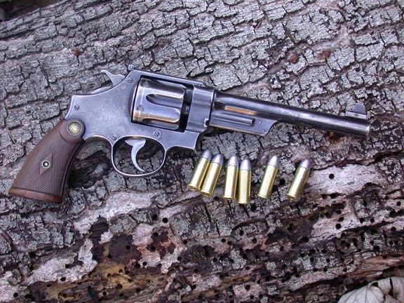 ".44 Smith and Wesson revolver, Triple Lock Target Model ca 1907 - 1915 It fires the ""smokeless"" .44 special ammunitio"