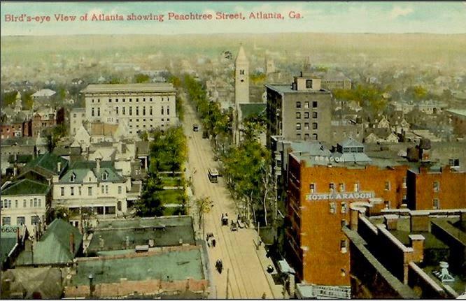 Postcard showing Peachtree Street, Atlanta, ca. 1910  (postcard, public domain)