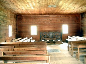Interior of a Primitive Baptist Church, Cades Cove, Tennessee - photo by Jess Stryker