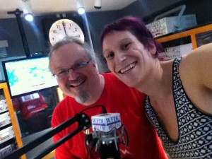 Ron Olesko and Mya Byrne in the on-air studio of WFDU-FM