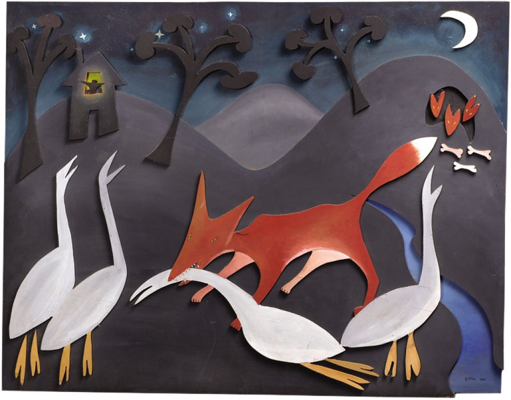 Fox on the Town-O - Dan Dutton, 1986 - acrylic and pigment on wood cutouts