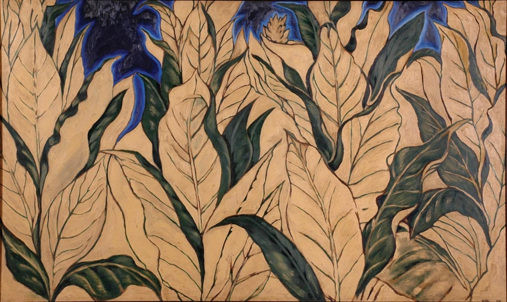 Tobacco - Dan Dutton, 1984 - oil on board - private collection - a painting of the last crop of tobacco on the Dutton family farm