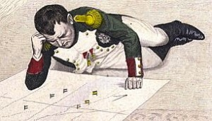 Napoleon strategizes with map (etching, 19th century) (Source: All the Tropes)