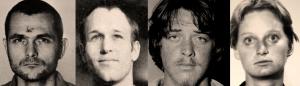 """More killers: (from left) Bruce Davis, Steve """"Clem"""" Grogan, Bobby Beausoleil, Mary Brunner (sources: Bugliosi, Helter-Skelter; findadeath.com; cielodrive.com)"""