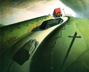 "Grant Wood: ""Death on the Ridge Road"" (1935) (source: Williams College Museum of Art)"
