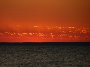 Sunset over the Manitous, Lake Michigan. Photo by K. Bigger