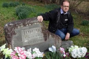 Author Paul Slade at the grave of Tom Dula (photo courtesy of Paul Slade)