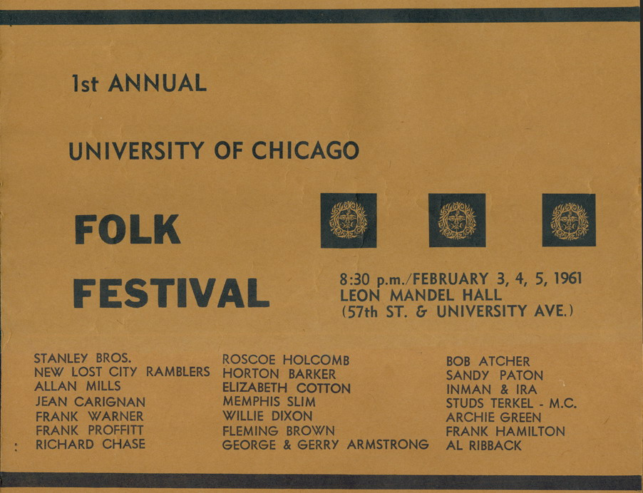 University of Chicago Folk Festival, 1961 - crop from original event poster listing featured artists including The Stanley Brothers and Roscoe Holcomb - Image from U of C Folklore Society