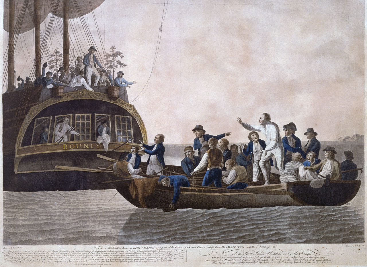 The Mutineers turning Lieut Bligh and part of the Officers and Crew adrift from His Majesty's Ship the Bounty - Robert Dodd, 1790