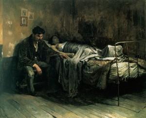 """Cristóbal Rojas: """"La miseria"""" (1886) (Galería de Arte Nacional, Caracas; Wikipedia)"""