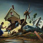 """""""Flood Disaster (Homecoming - Kaw Valley),"""" 1951, by Thomas Hart Benton (1889-1975)"""