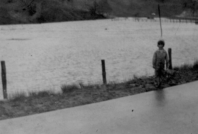 Flood in Lewis County, West Virginia - ca. early 1930s - my mom with her back to her greatest childhood fear.