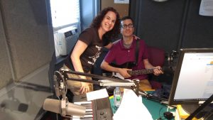 Elisa Peimer and Jon Sobel in the studios of WFDU-FM