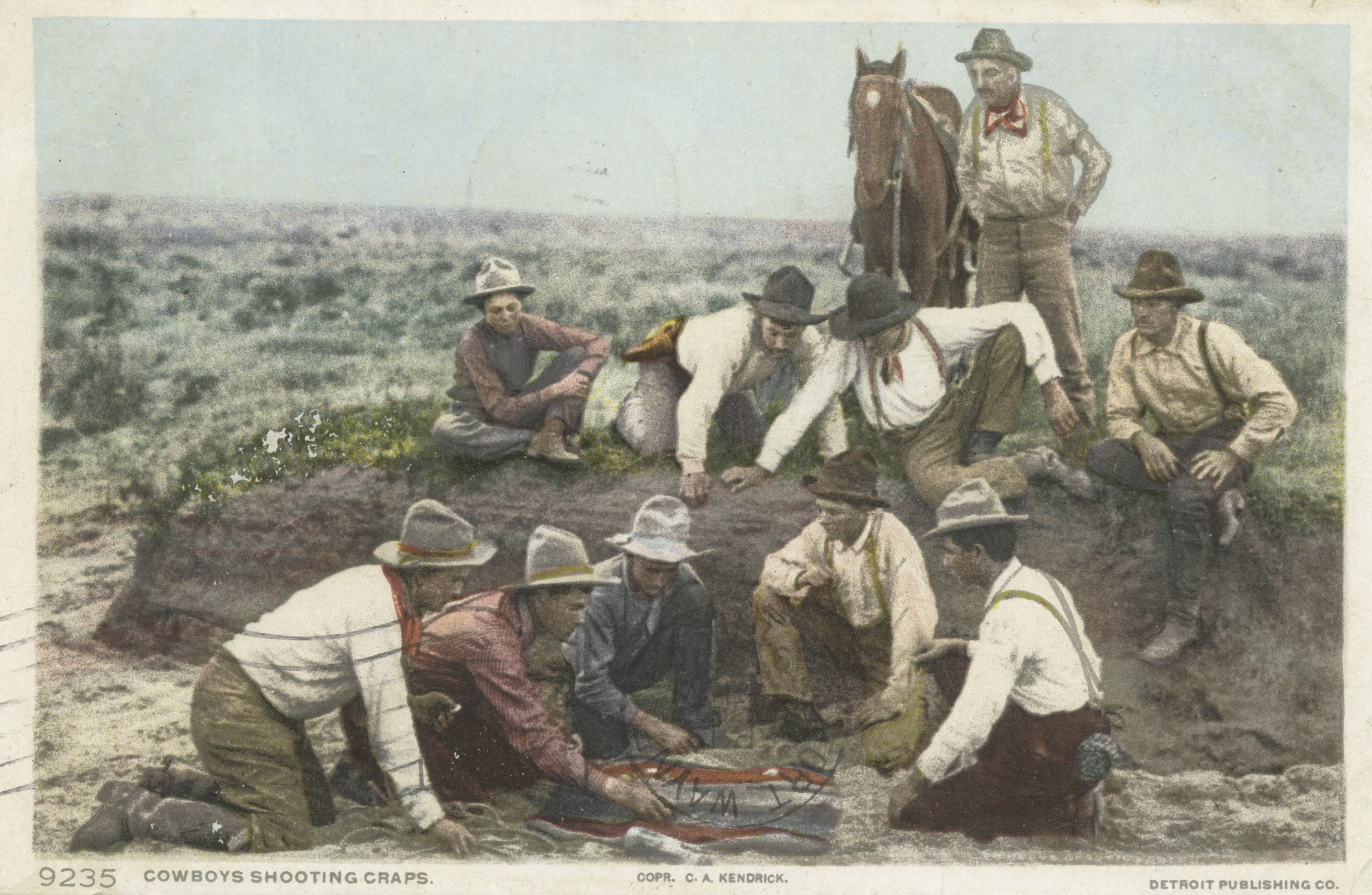 Cowboys shooting craps (Detroit Publishing Company Postcards; NY Public Library Digital Collection)
