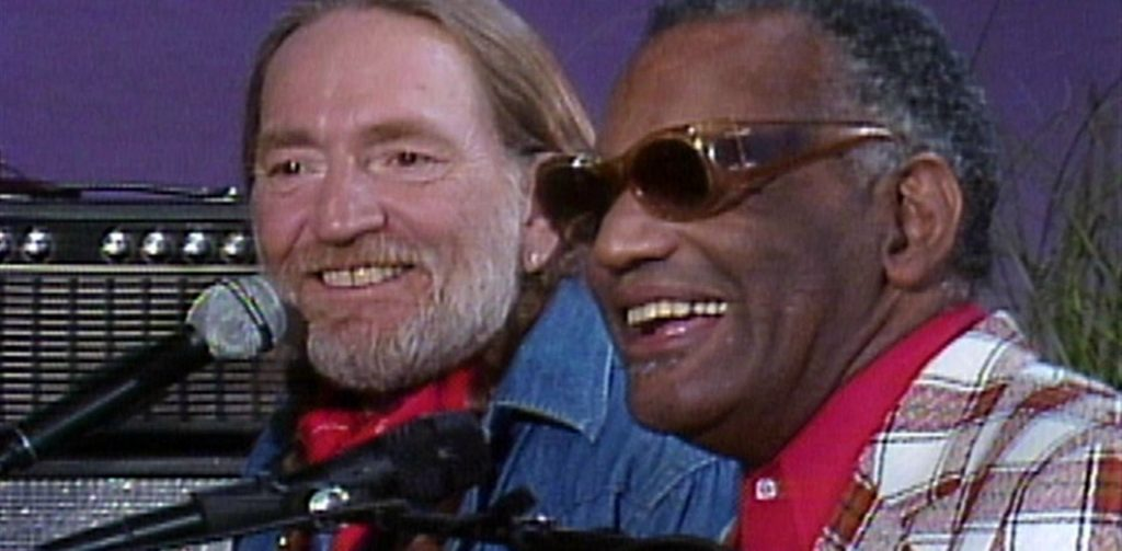 """Willie Nelson and Ray Charles (screencap of a live performance of """"Seven Spanish Angels"""")"""