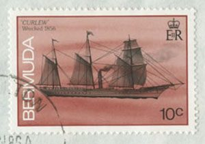"""The <em>Curlew</em> was a barquentine-rigged steamer that sank off Bermuda in 1856. Its story seems to be the basis for Stan Rogers's """"The Flowers of Bermuda."""" She was featured on this postage stamp in 1986."""
