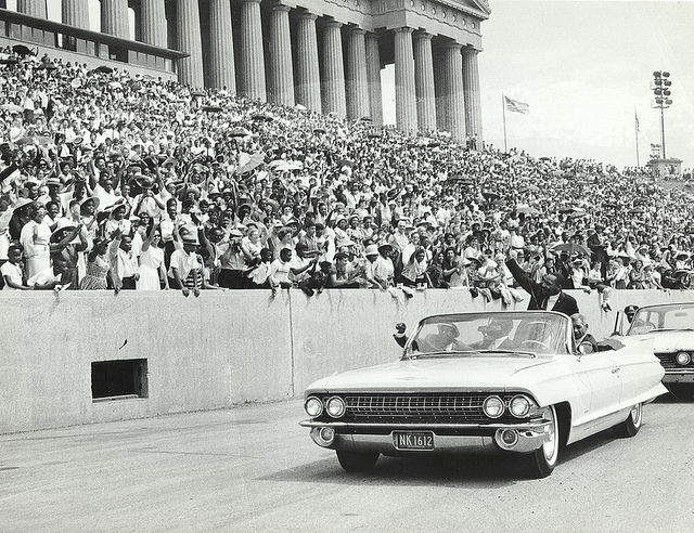 Reverend Martin Luther King Jr. at a rally in Chicago's Soldier Field, July 10, 1966.
