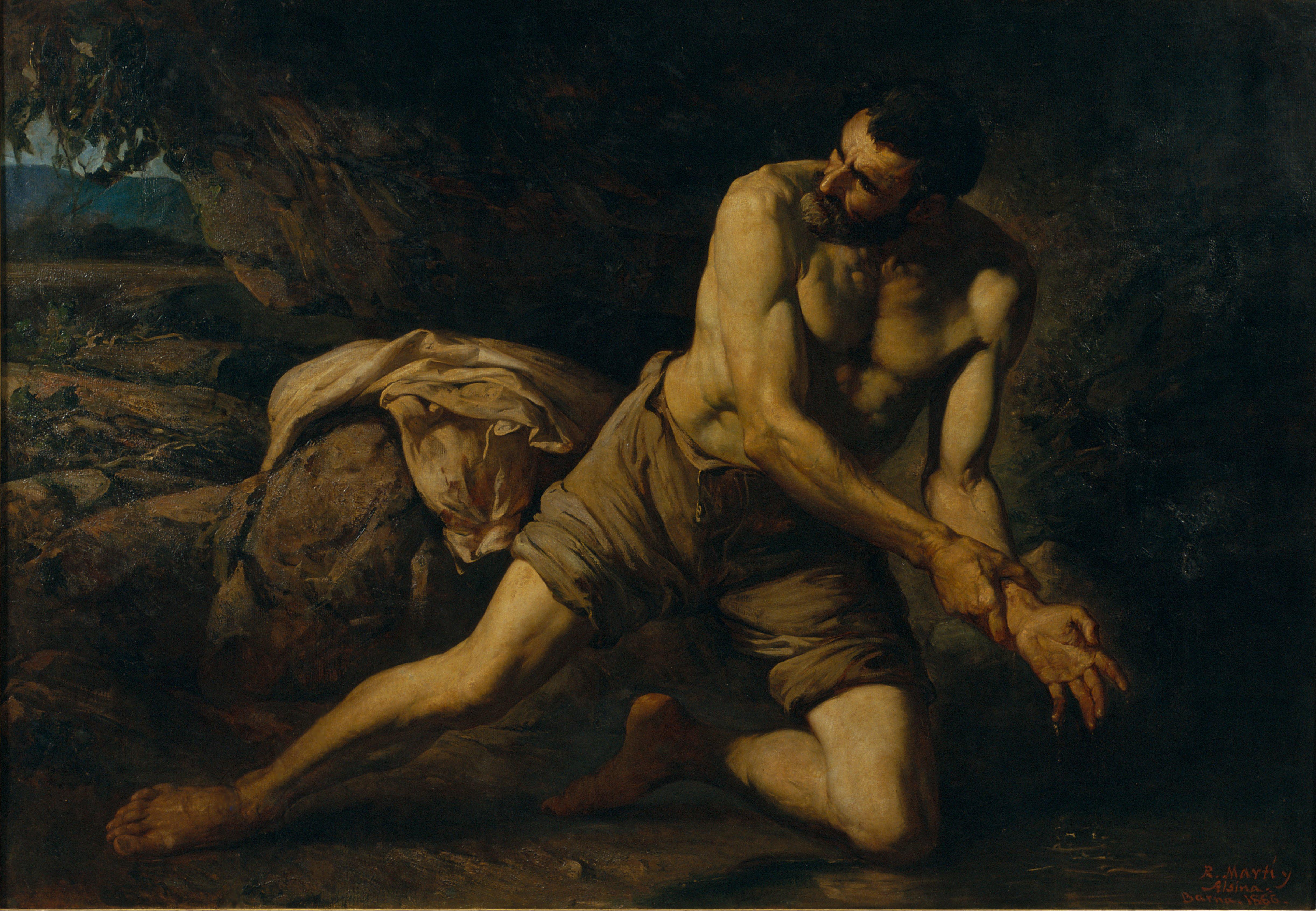 Ramon Martí i Alsina - La Mancha del Crimen (The Mark of the Crime or The Criminal) - 1866, oil on canvas