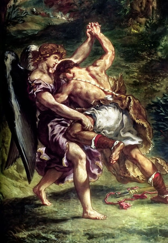 detail from Jacob Wrestles with the Angel - Eugene Delacroix - mural, 1854-1861