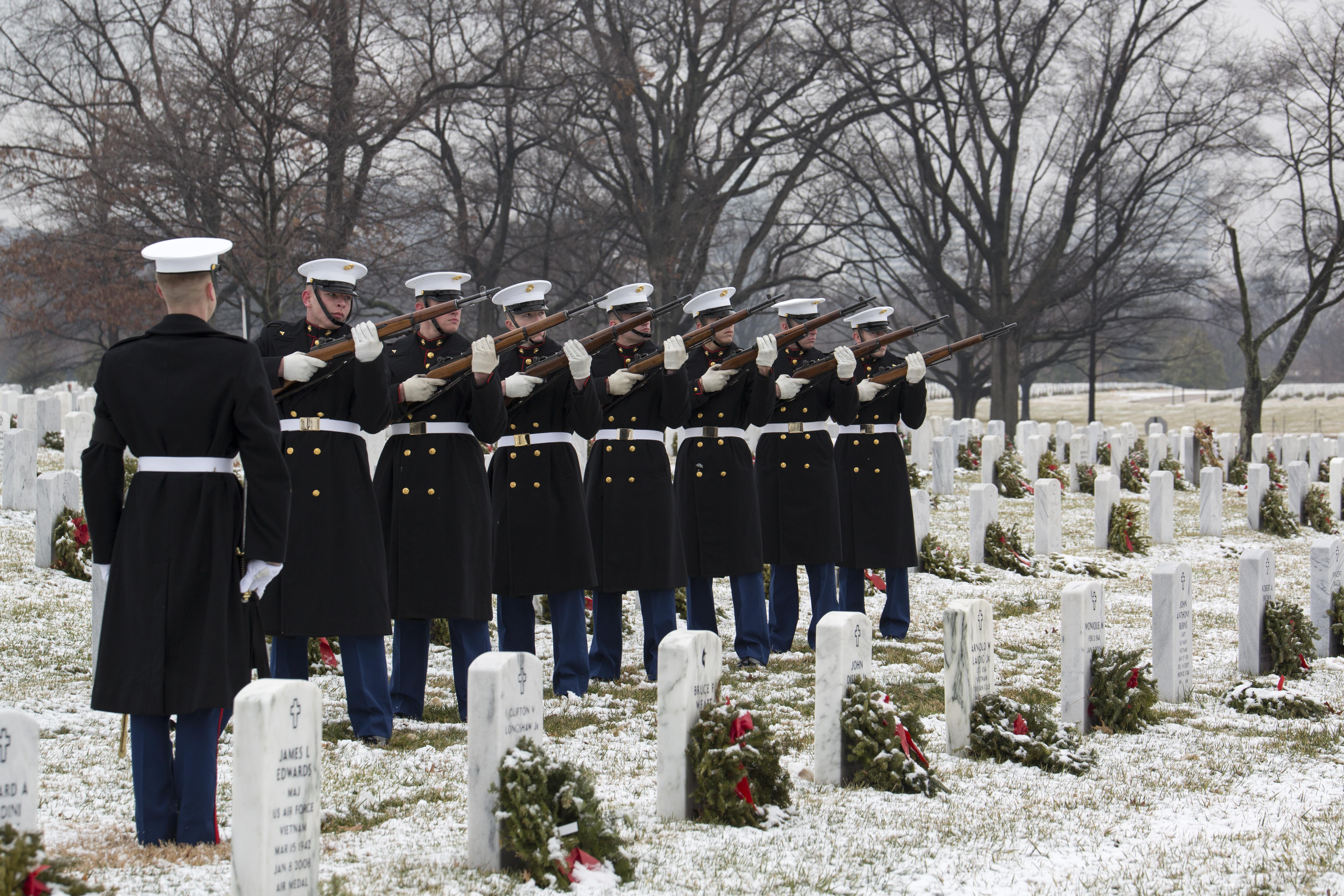 Arlington, Va. - A firing party from Marine Barracks Washington, D.C., renders a 21-gun salute during a funeral at Arlington National Cemetery, Arlington Va., Jan. 21. (U.S. Marine Corps Photo by Lance Cpl. Christian Varney/Released)