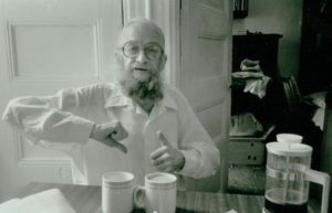 Harry Smith curates coffee in Allen Ginsburg's kitchen, ca. mid to late 1980s. Photo by Allen Ginsburg
