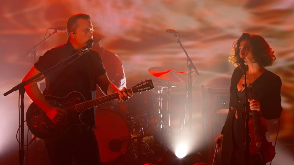Jason Isbell and Amanda Shires, (screen capture from performance on Jimmy Kimmel Live)